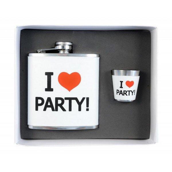 Rozsdamentes acél ajándékcsutora - I love party, 170 ml