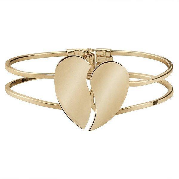 Női aranyszínű karkötő félbetört szívvel
