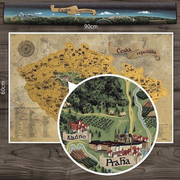 Stírací mapa Česka DELUXE XXL zlatá