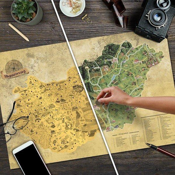 Stírací mapa Maďarska DELUXE XL zlatá