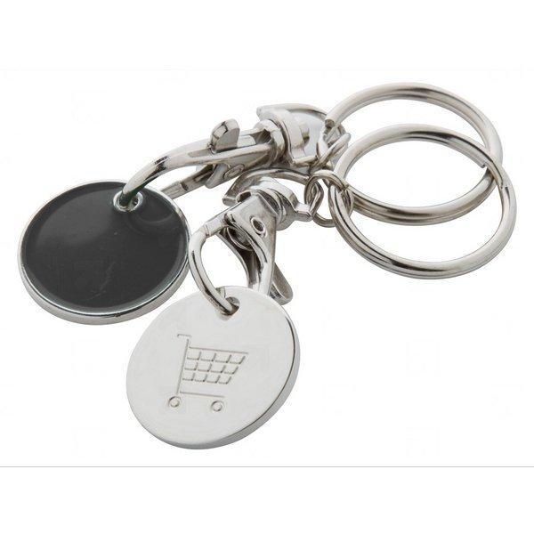 Kovový přívěsek na klíče EUROMARKET s žetonem do košíků + Možnost GRAVÍROVÁNÍ