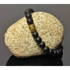 Náramek LK303 zlatý Buddha lávové kameny