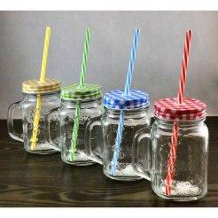 Retro smoothie pohár so slamkou 480ml zelený