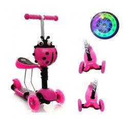 Gyerek roller 3 az 1-be katicabogár, LED kerekekkel, rózsaszínű