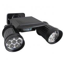 Zahradní solární 14 LED reflektor Duo - černé
