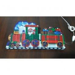 Vianočná multikolor LED dekorácia Santa a vláčikom 45 x 24 cm