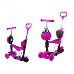 Gyerek roller 5 az 1-be katicabogár, LED kerekekkel, rózsaszínű