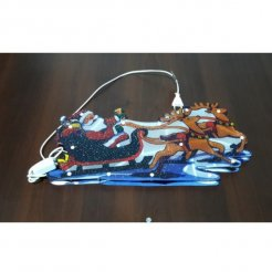 Vianočná multikolor LED dekorácia Santa na saniach 46 x 21 cm