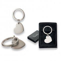 Přívěsek na klíče srdce saténově stříbrné