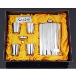 Nerezová ploskačka 240 ml s pohárikmi a lievikom