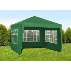 Kerti pavilon 3x3m összecsukható + 3 fal, zöld színű
