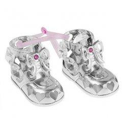 Dievčenské postriebrené topánočky Swarovski