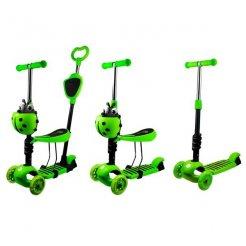 Gyerek roller 5az1-be katicabogár, LED-es kerekekkel, zöldszínű