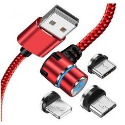 Mágneses töltő 360 IPHONE / MICRO USB / C USB 3 az 1-ben