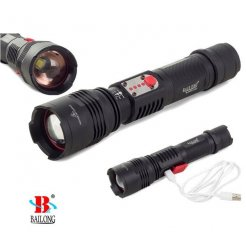 BAILONG taktická baterka + Power Bank ZOOM CREE LED USB XML-L3-U3