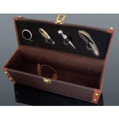 Luxusná dárková sada na víno 4-dílná + kožený kufrík