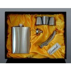 Nerezová ploskačka 240 ml + 3x pohárik, lievik a otvárač