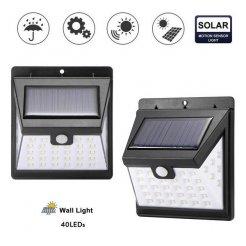 LED solární venkovní světlo, 40 LED, senzor, stmívač, bezdrátové