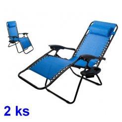 Kerti szék - nyugágy Zero Gravity Blue 2 db