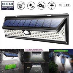 Solární venkovní světlo, 90 LED, senzor, stmívač, bezdrátové