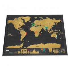 A világ letörlő térképe DELUXE fekete