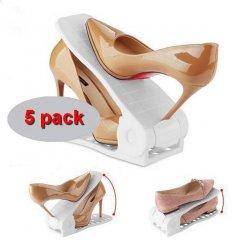 Organizér na topánky nastaviteľný biely 5 ks