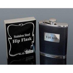 Flaska 210 ml rozsdamentes acél és fekete bőr