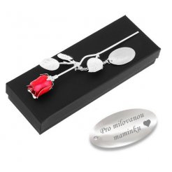Stříbrná růže červená