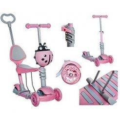 Dětská koloběžka Kruzzel 5v1 beruška s LED kolečky růžová
