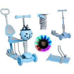 Dětská koloběžka Kruzzel 5v1 beruška s LED kolečky modrá