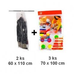 Vakuové pytle 3 ks 70x100cm + 2 ks závěsné vakuové pytle 60x110 cm