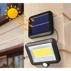 Solárne vonkajšie 100 LED COB osvetlenie s pohybovým senzorom