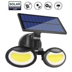 Dvojité solární venkovní 108 LED COB osvětlení s pohybovým senzorem