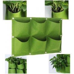 Závesný textilný kvetináč 6 vreciek
