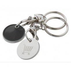 Kovový přívěsek na klíče EUROMARKET s žetonem do košíků