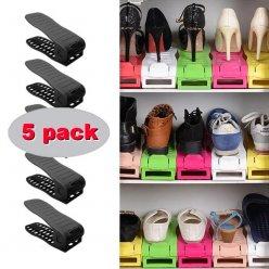 Organizér na topánky nastaviteľný čierny 5 ks