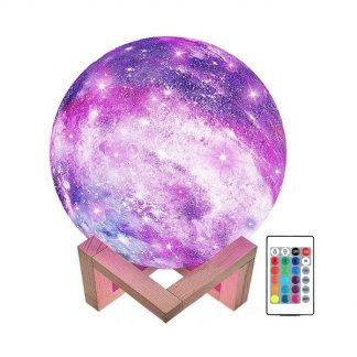 3D Lampička Měsíc RGB 16 barev