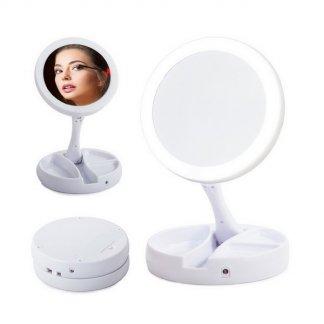 Skládací kosmetické zvětšovací zrcadlo s LED podsvícením