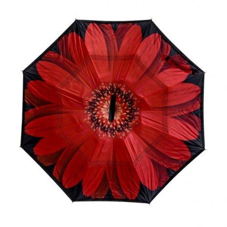 Kifordított esernyő Piros gerbera motívummal