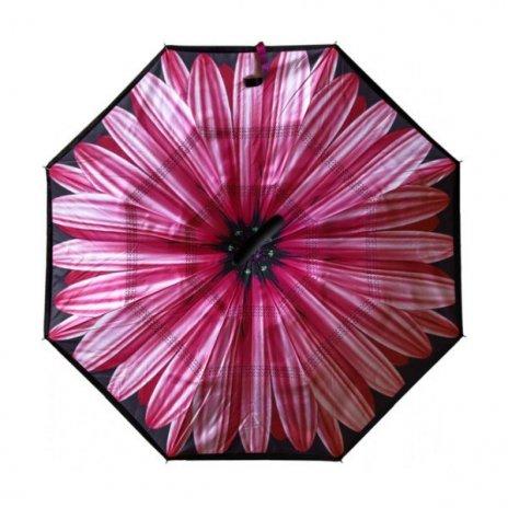 Kifordított esernyő Rózsaszínű virág motívummmal