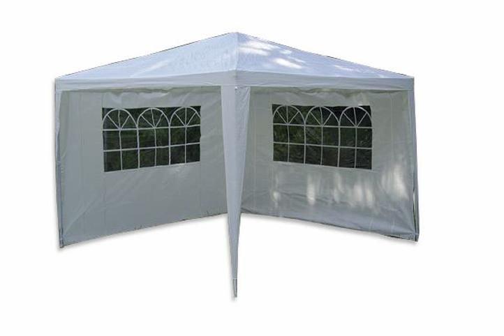 Záhradný párty stan - biely 3 x 3 m + 2 bočné steny