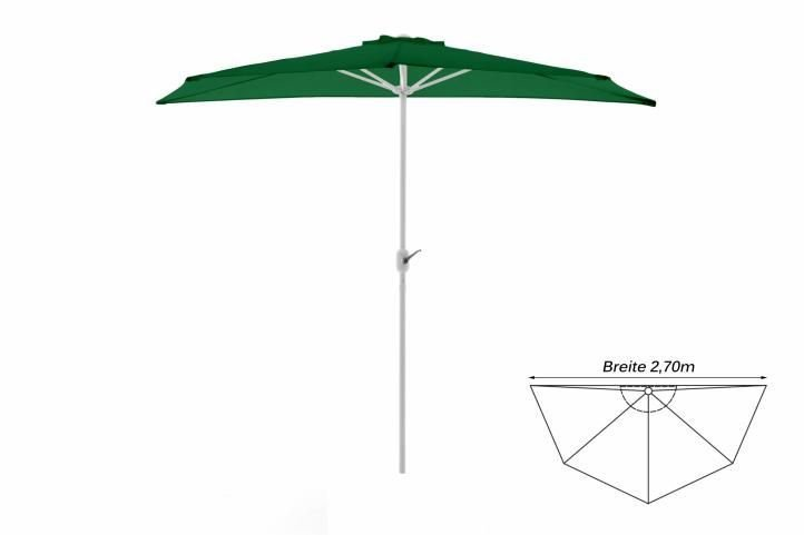 Polkruhový záhradný slnečník - zelený - 2,7 m