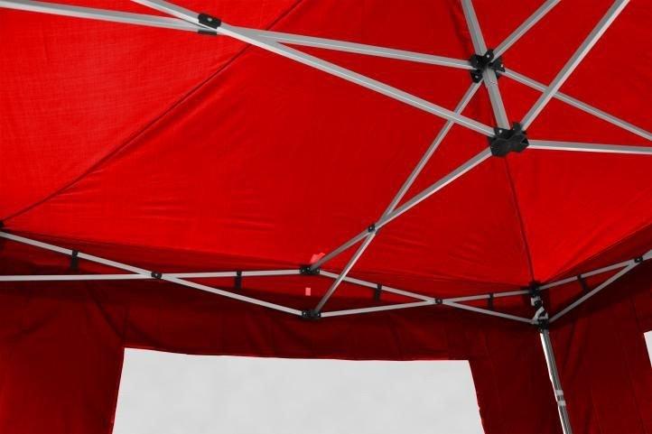 Záhradný párty stan nožnicový PROFI 3x3 m červený + 2 bočné steny