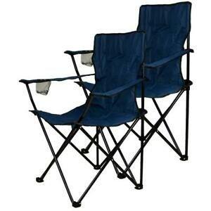 Sada 2 skladacích kempingových modrých stoličiek