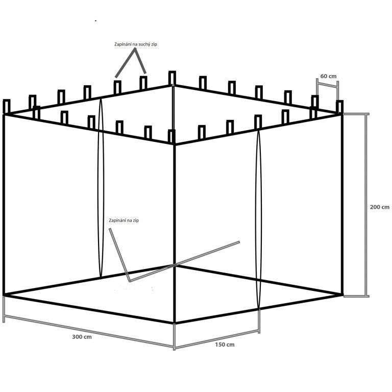 Moskytiéra pre záhradný stan INSTENT 3 x 3 m - čierna