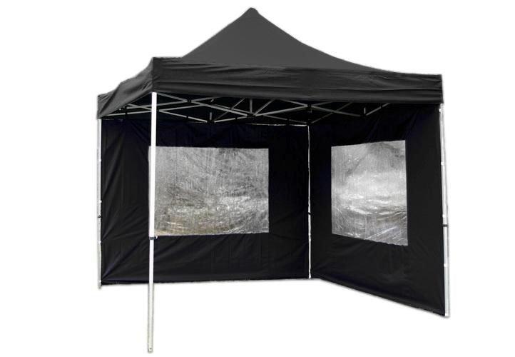 Záhradný párty stan nožnicový PROFI 3x3 m čierny + 2 bočné steny