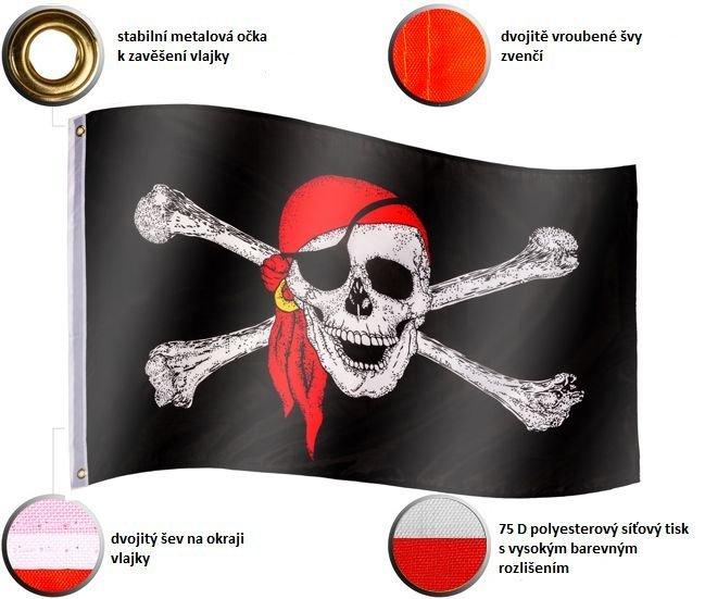 Pirátská vlajka Jolly Roger - 120 cm x 80 cm