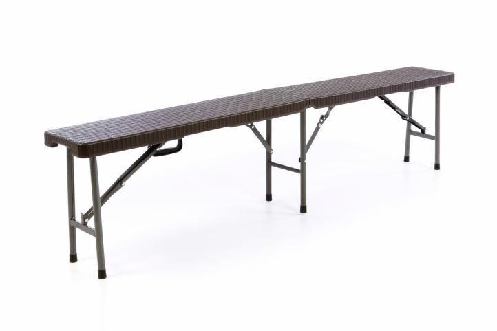 Záhradná lavica v ratanovom vzhľade - hnedá 180 x 25 cm
