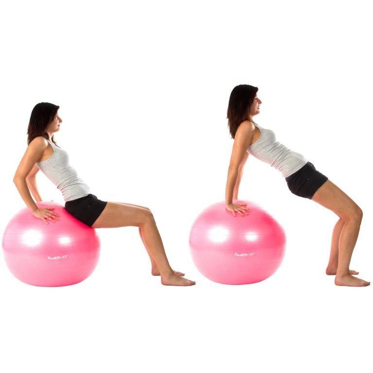 Gymnastická lopta MOVIT s pumpou – 75 cm – ružová