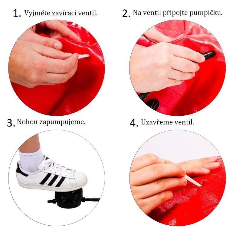 Gymnastická lopta MOVIT s pumpou – 75 cm – červená